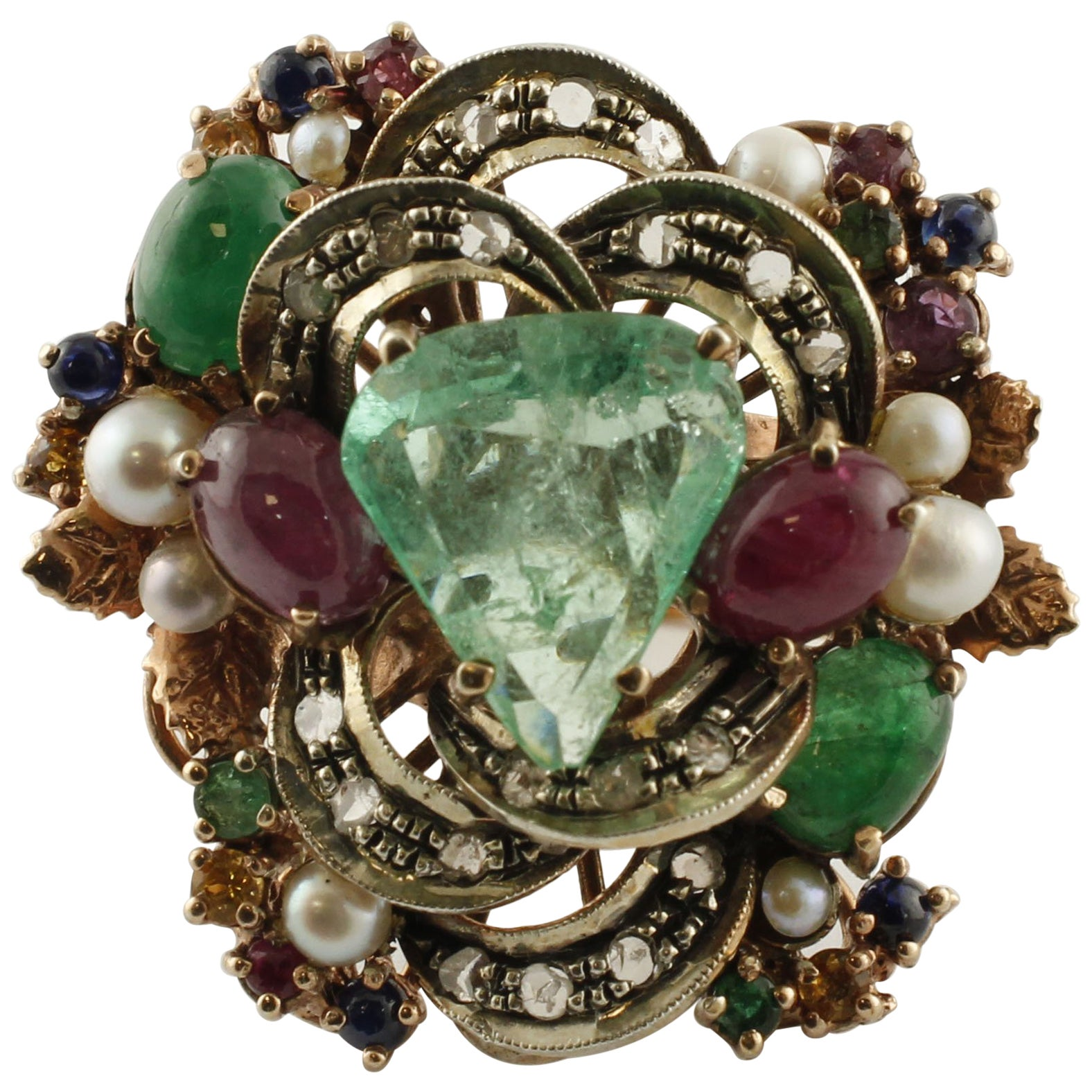Diamonds, Rubies, Emeralds, Blue Yellow Sapphires, Pearls Rose Gold Silver Ring