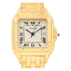 Cartier Panthere XL Blue Sapphire Crown Yellow Gold Men's Watch W25014B9