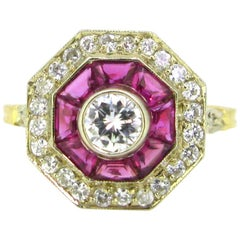 Vintage French Octagonal Diamond Ruby Target Ring