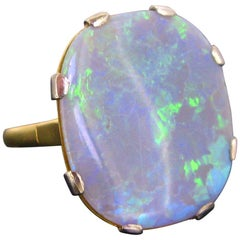 Vintage Opal Yellow Gold Platinum Fashion Ring