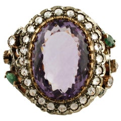 15.92 Carat Amethyst, 3.15 Carat White Sapphires and Emeralds Gold Silver Ring