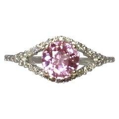 Pink Tourmaline and Diamond 1.0 Carat White Gold Designer Fashion Ring