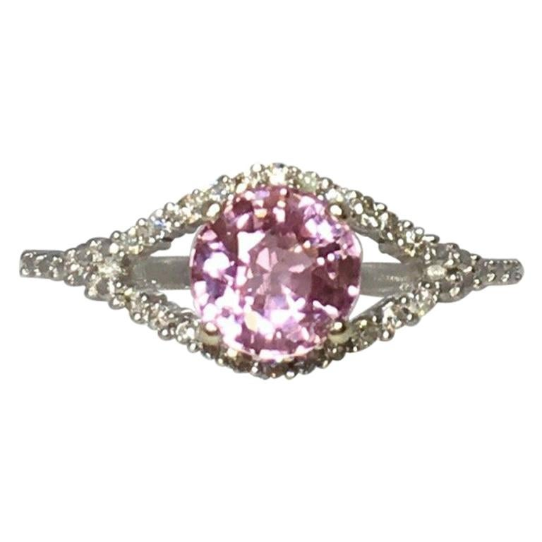 Pink Tourmaline and Diamond 1.0 Carat White Gold Designer Fashion Ring For Sale