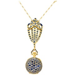 Tiffany & Co. Arts & Crafts Sapphire Enamel 18 Karat Gold Watch Pendant Necklace