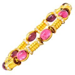 Bulgari 1970s 3.40 Carat Diamond Pink Tourmaline 18 Karat Gold Bracelet