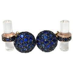 5.15 Carat Blue Sapphire, Rock Crystal Baton Back Yellow Black Gold Cufflinks