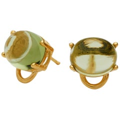 Maviada's Marmaris 18 Karat Yellow Gold Peridot Vermeil Classic Stud Earrings