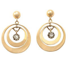 Antique Diamond and Yellow Gold Drop Earrings Circa 1930