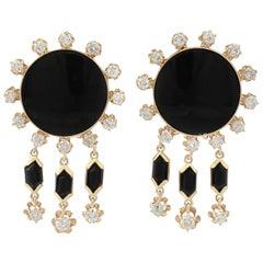 Vintage 1.40Ct Diamond and Onyx Yellow Gold Drop Earrings Circa 1950