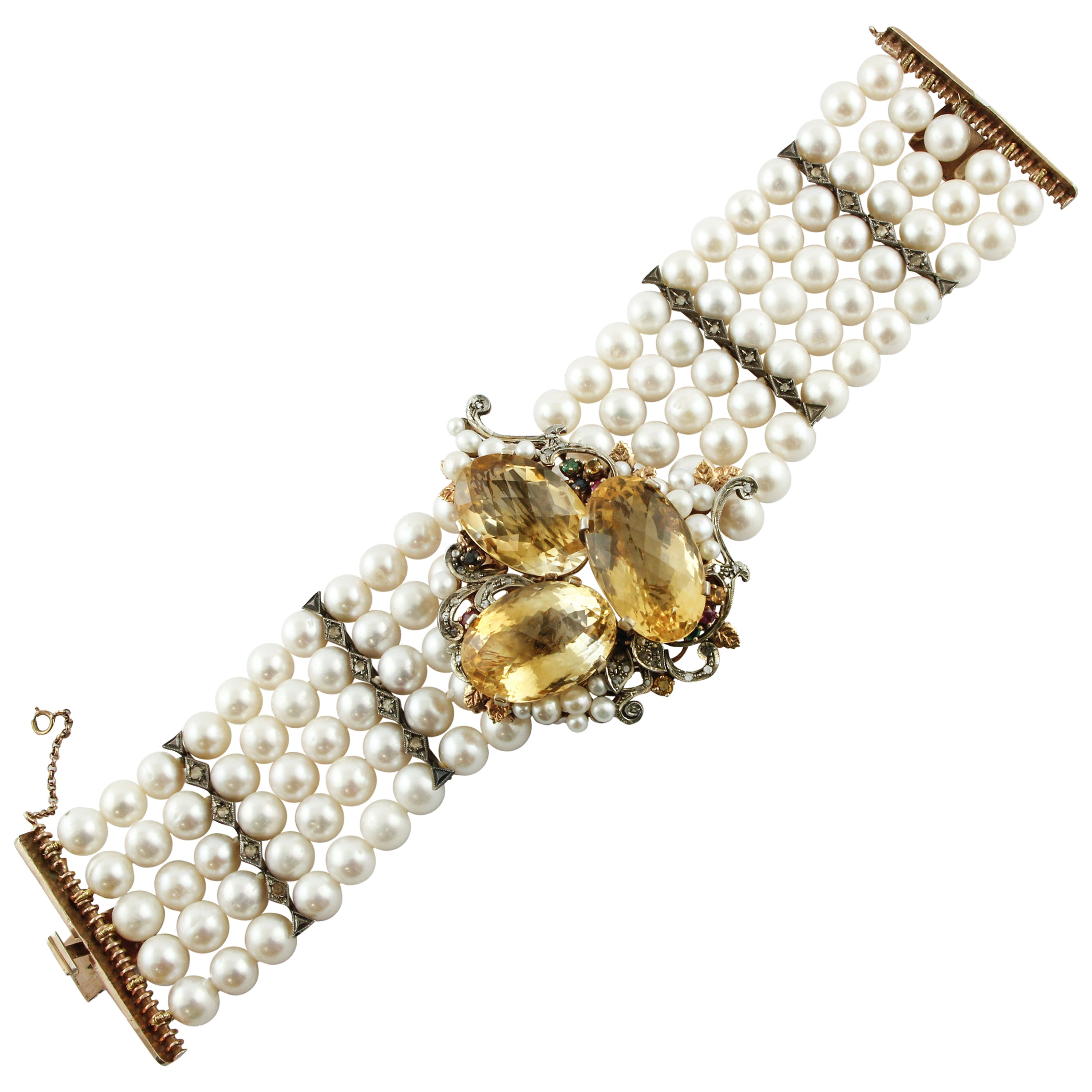 Diamond, Ruby, Emerald, Sapphires, Topaz, Pearl, Rose Gold and Silver Bracelet