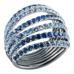 18 Karat White Gold Blue Sapphires Ring Aenea