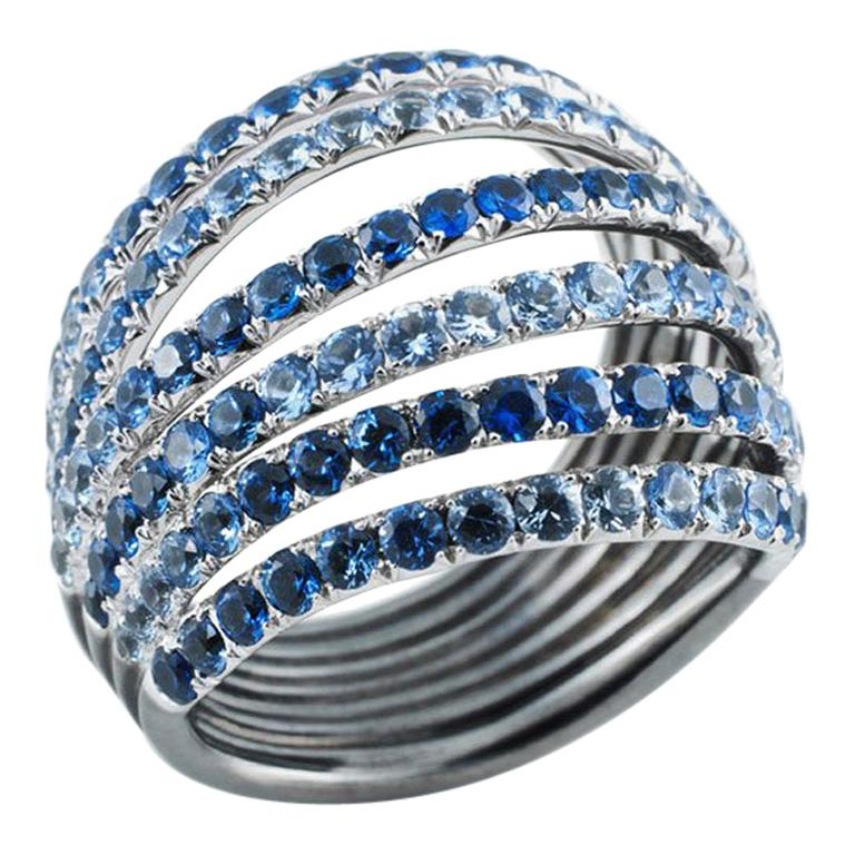 18 Karat White Gold Rhodium-Plated Sterling Silver Blue Sapphires Ring Aenea For Sale