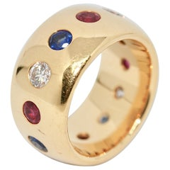Pretty, Solid 18 Karat Gold Ladies Ring with Diamonds, Sapphires and Rubies