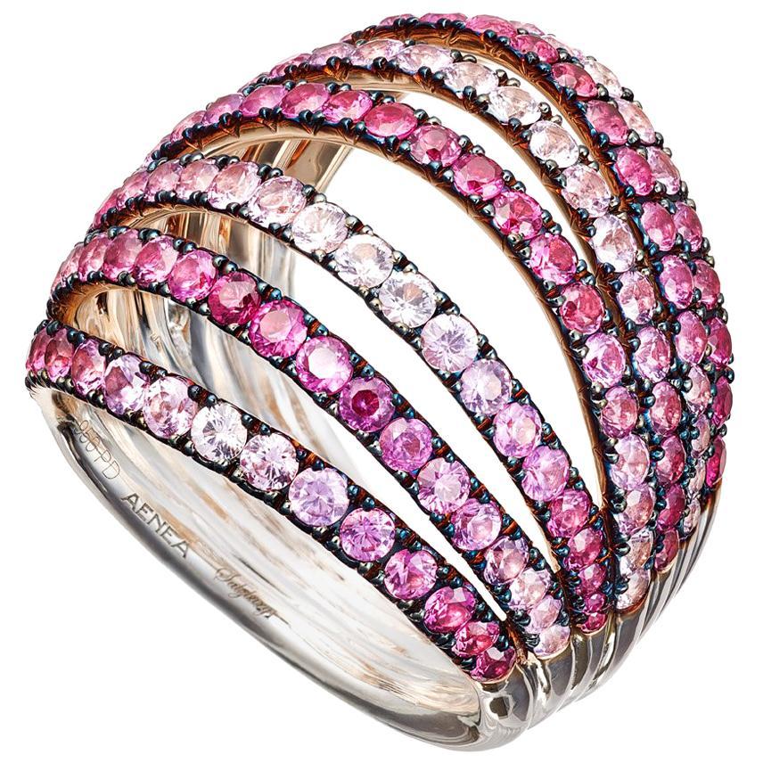 18 Karat Pink Gold Palladium Pink Sapphires Ring Aenea