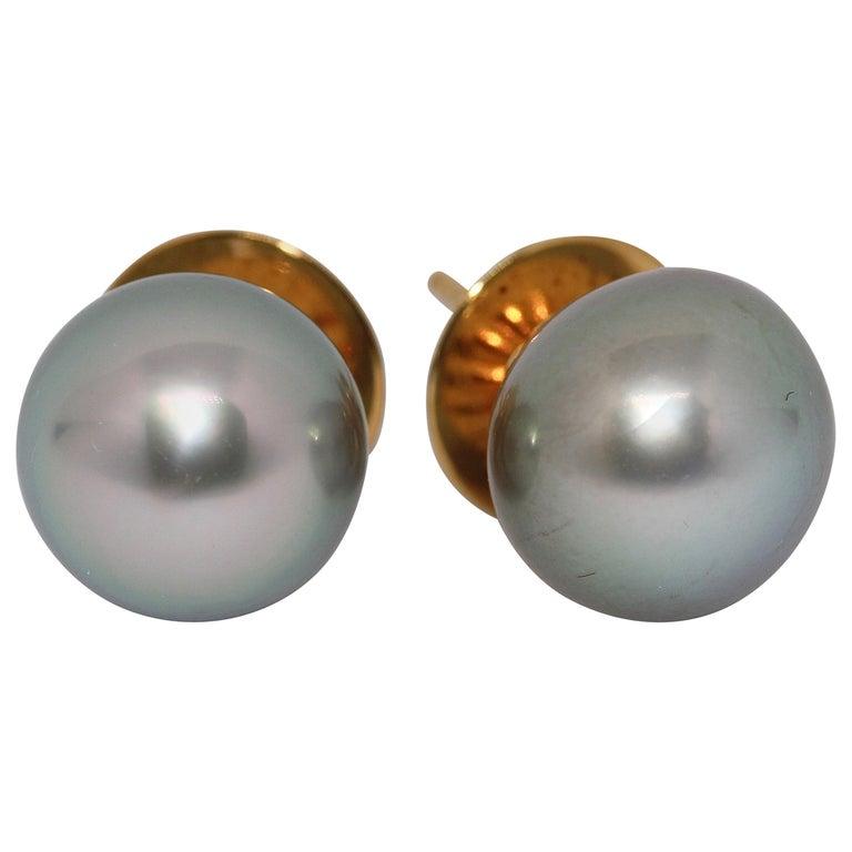 Pretty, Natural Tahiti Pearl Stud Earrings, 18 Karat Gold For Sale