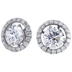 GIA-Certified Round Diamond Martini Studs with Removable Micro Pave Jackets