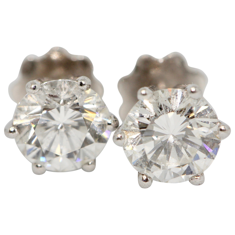 Pretty Diamond Solitaire Stud Earrings, 18 Karat White Gold