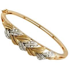 Contemporary Diamond Yellow Gold White Gold Set Bangle