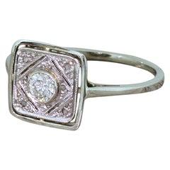 Midcentury 0.20 Carat Brilliant Cut Diamond Ring