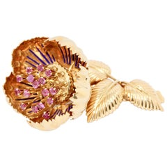 Enchanting, 18 Karat Floral Gold Brooch with Movable Petals, Rubies and Enamel