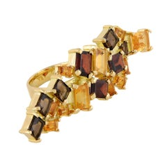 18 Carat Yellow Gold, Citrine, Garnet and Smokey Quartz Cocktail Ring