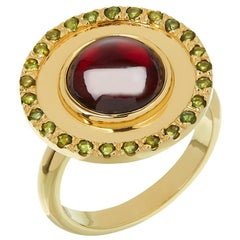 18 Carat Yellow Gold, Garnet and Green Tourmaline 'Flying Saucer' Ring