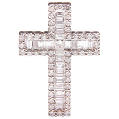 White Gold and Diamond Cross / Crucifix Pendant, 77 Diamonds in Total 1.5 Carat