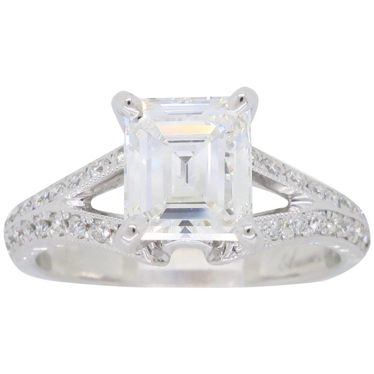 GIA Certified D VVS2 Emerald Cut Diamond Engagement Ring