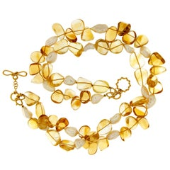 Valentin Magro Double Strand Citrine and Pearl Necklace