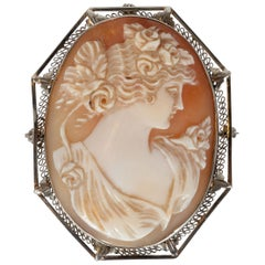 Art Deco Rose & White Carved Shell Portrait Cameo w/ 14kt White Gold Fittings