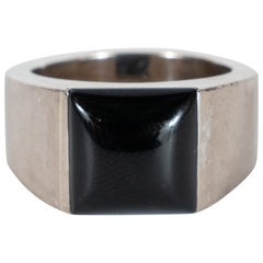 "Cartier Modernist 18 Karat White Gold and Black Onyx ""Tank"" Ring"