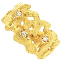 Sacchi Diamonds Gemstone 18 Karat Satin Yellow Gold Magma Band Ring