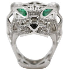 Cartier Panthere De 18 Karat White Gold Ring, Emeralds Onyx Diamonds
