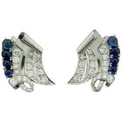 Platinum Diamond and Sapphire Handmade Earrings, circa 1950s 2.00 Carat