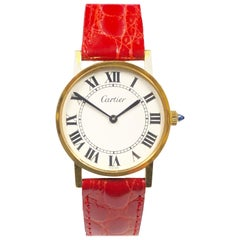 Cartier Large Gold Plate 1980s Manual Wind Wristwatch