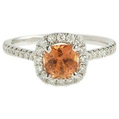Unheated 1.20 Carat Orange Sapphire Diamonds 18 Karat White Gold Ring