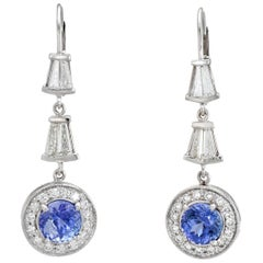 Vintage Diamond Tanzanite Earrings Drops 14 Karat White Gold Estate Fine Jewelry