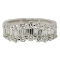 1.30 Carat White Round Brilliant And Baguette Diamond Wedding Band In 18k Gold.