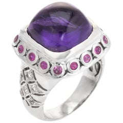 Vintage Amethyst Ruby White Sapphire Ring Square Cocktail 14 Karat Gold Estate