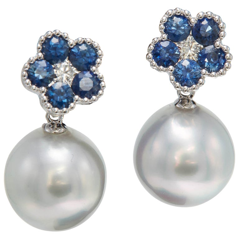 Sapphire Flower Diamond South Sea Pearl Drop Earrings 1.96 Carat 18 Karat For Sale