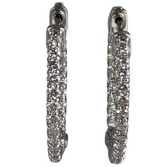 1.71 Carat Diamond Hoop Earrings in 14 Karat White Gold