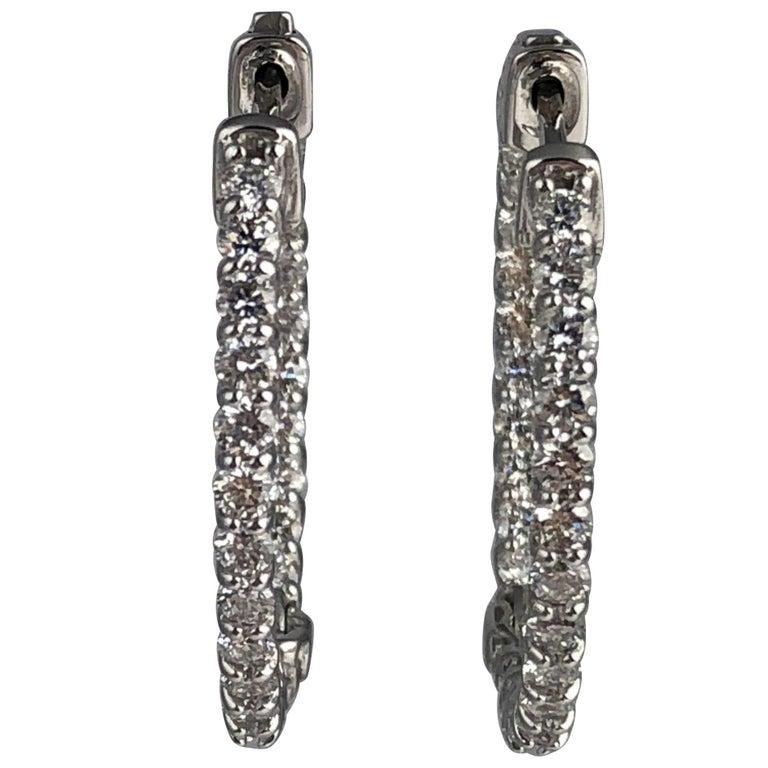 1.71 Carat Diamond Hoop Earrings in 14 Karat White Gold For Sale