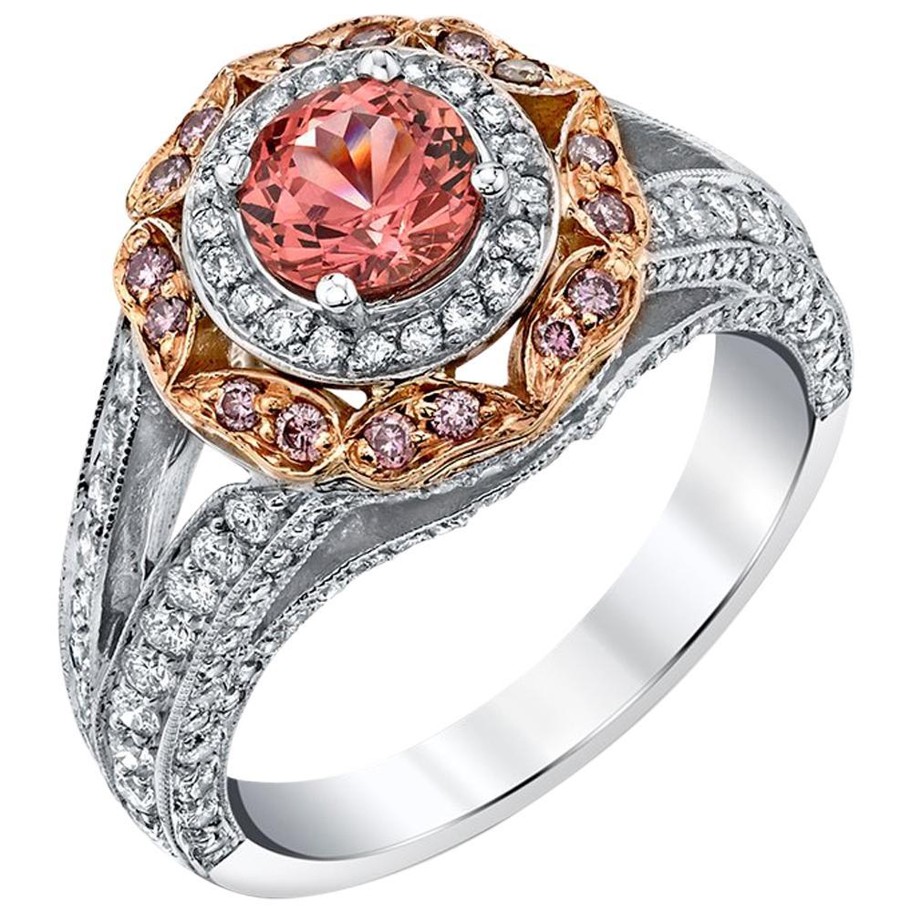 Pink Spinel, Natural Pink & White Diamond 18k Rose & White Gold Handmade Ring