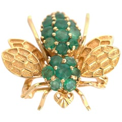 1.25 Carat Total Weight Emerald Yellow Gold Brooch