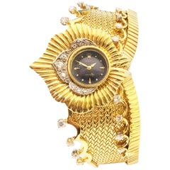 Rolex 1960s Large Yellow Gold and Diamond Bangle Bracelet Watch