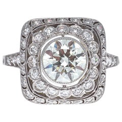 Art Deco Revival 1.43 Carat Old European Cut Diamond Platinum Ring