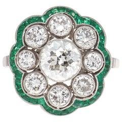 Art Deco Revival Diamond Emerald Platinum Cluster Ring