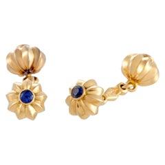 Cartier Vintage Sapphire Yellow Gold Cufflinks