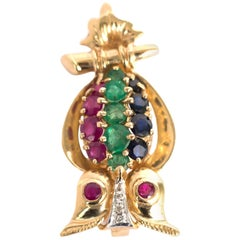Ruby, Emerald, Sapphire Yellow Gold Brooch