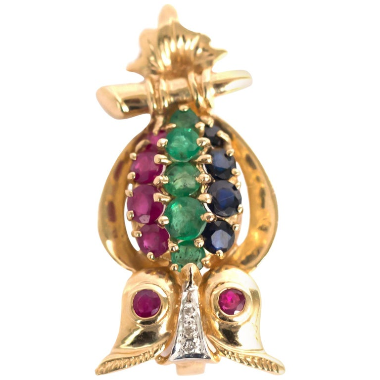 Ruby, Emerald, Sapphire Yellow Gold Brooch For Sale